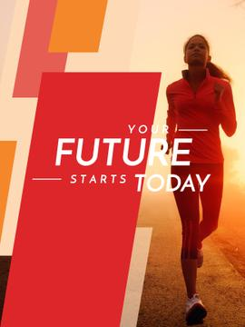 Motivational Sports Quote Running Woman in Red
