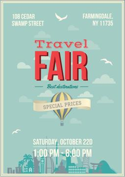 Travel Fair Advertisement with Hot Air Balloon