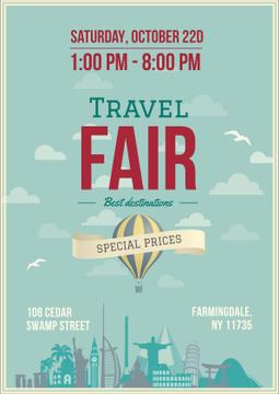 Travel Fair Advertisement with Hot Air Balloon