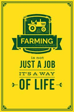 Agricultural yellow poster with quotation