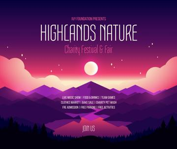 Charity festival announcement on Pink Mountains