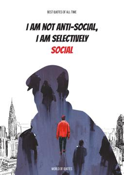 Social quote with Man silhouette