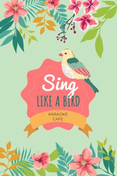 Karaoke Cafe Ad with Cute Singing Bird in Flowers