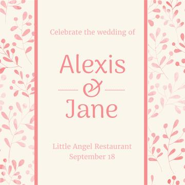 Wedding Invitation with Floral Frame