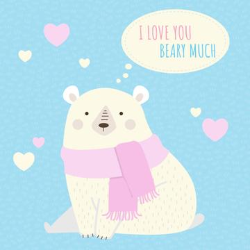 Cute Loving Bear with Hearts