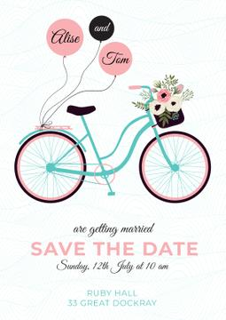Save the Date Card with Bicycle and Flowers