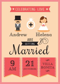 Wedding Invitation with Groom and Bride in Pink