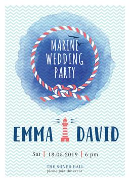 Marine Wedding Party invitation in Blue