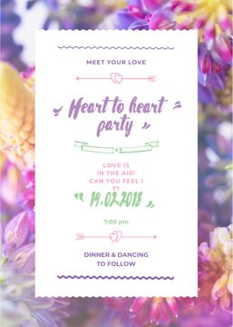 Party Invitation Purple Flowers