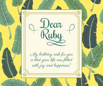 Birthday Greeting on Tropical leaves