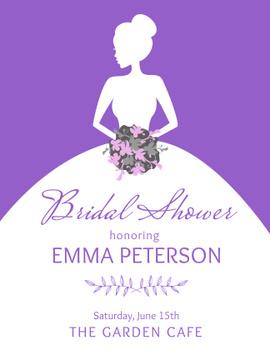 Bridal shower invitation with Bride silhouette