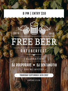 Octoberfest invitation with Beer and hop