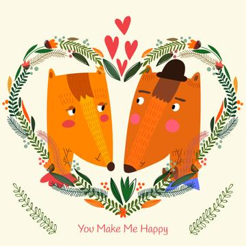Valentine's day Greeting with Foxes