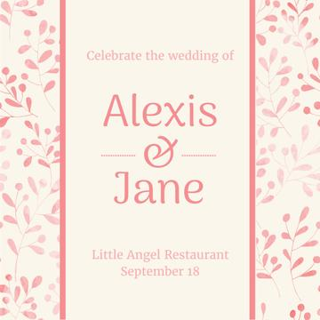 Wedding party Invitation on Leaves Pattern