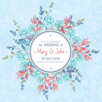 Wedding party Invitation with Circle of Flowers