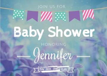 Baby Shower Invitation on Blue Flowers