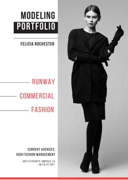 Fashion show Advertisement with Stylish Woman in black