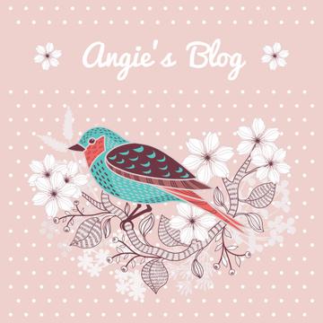 Blog Illustration Cute Bird on Pink