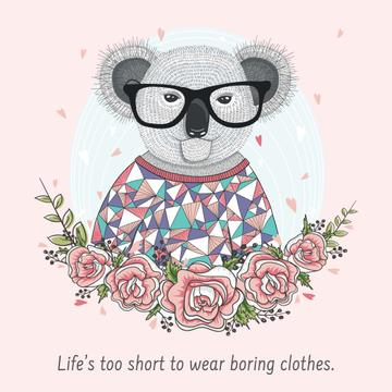 Fashion quote with Koala in Flowers