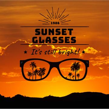 Summer Sunset with Palms in Glasses