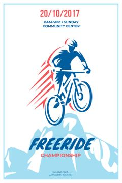 Freeride Championship Announcement with Cyclist in Mountains
