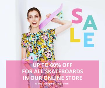 Sports Equipment Ad Girl with Bright Skateboard
