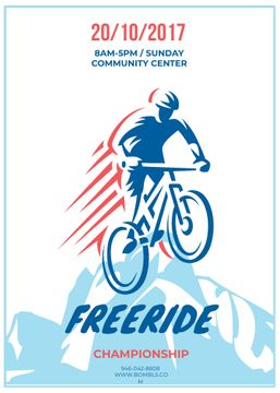 Freeride Championship Announcement Cyclist in Mountains