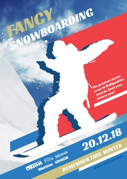 Snowboard Event announcement Man riding in Snowy Mountains