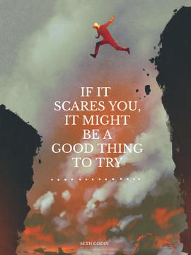 Motivational quote with Man Jumping over canyon