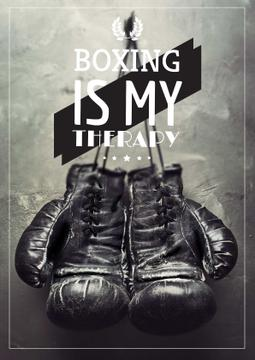 Sport Quote with Boxing Gloves on Wall