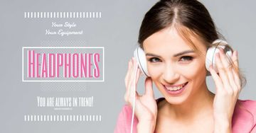 Headphones sale advertisement with smiling GIrl