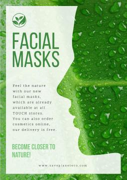 Facial masks advertisement with Woman green  silhouette