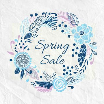 Spring Sale Flowers Wreath in Blue