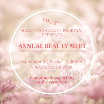Beauty event announcement in pink frame