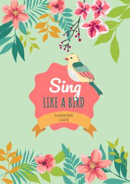 Karaoke cafe Ad with cute bird