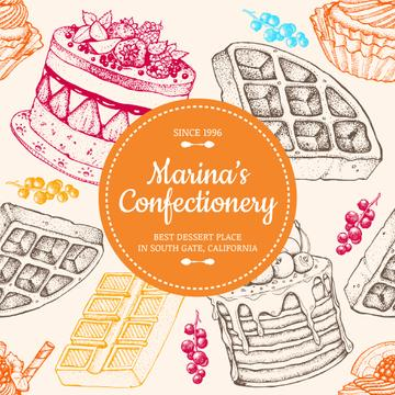 Confectionery Waffles and Cakes Sketches