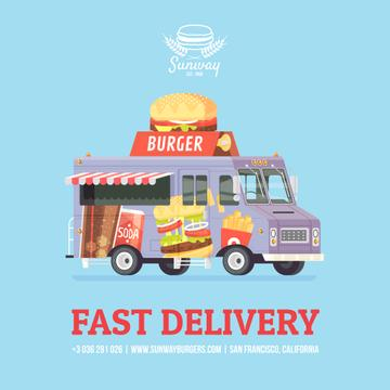 Food Delivery Van with Burger