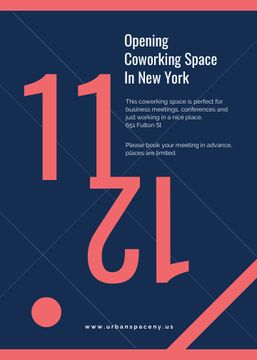 Coworking Opening Minimalistic Announcement in Blue and Red