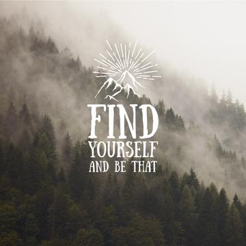 Motivational quote with Foggy Mountain Landscape