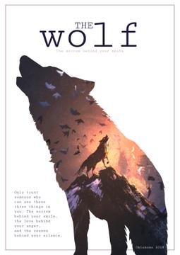 Motivational quote with Wolf silhouette