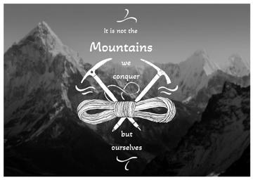 Motivational quote with Snowy Mountains