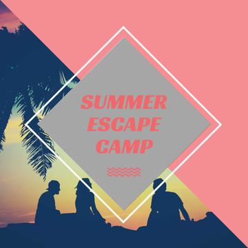 Summer Camp friends at sunset beach