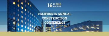 Construction Conference Announcement with Modern Glass Buildings