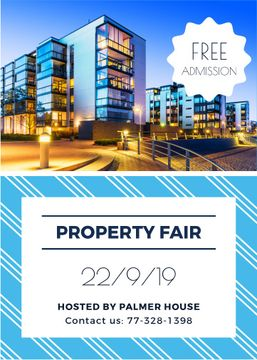 Property fair ad with glass Buildings