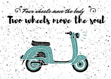 Two Wheels Quote with Vintage Scooter