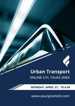Public Transport Train in Subway Tunnel