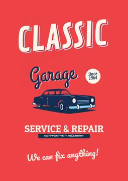 Garage Services Ad with Vintage Car in Red