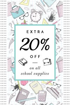 School Supplies Sale Advertisement Stationery Icons