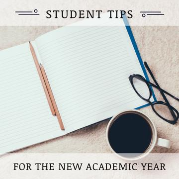 Student tips with Notebook and Coffee