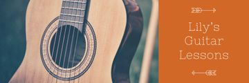 Music Lessons Ad with Wooden Guitar